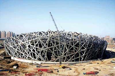 国家体育场鸟巢钢结构吊装完工
