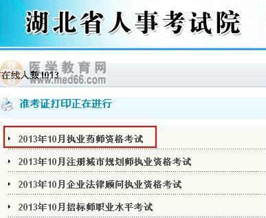 2013年云南执业药师准考证打印入口开通