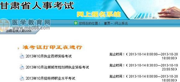 甘肃2013年执业药师准考证打印入口