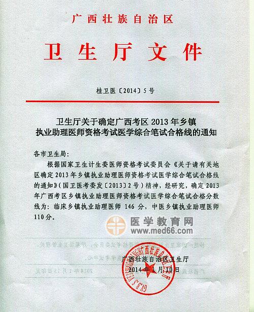 广西2013年乡镇执业助理医师考试医学综合笔试分数线通知
