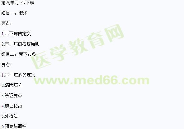 2016年中医医师《中医妇科学》大纲