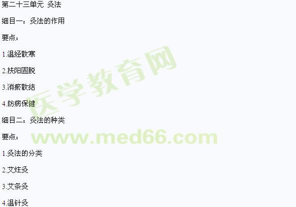 2016中医执业医师《针灸学》考试大纲