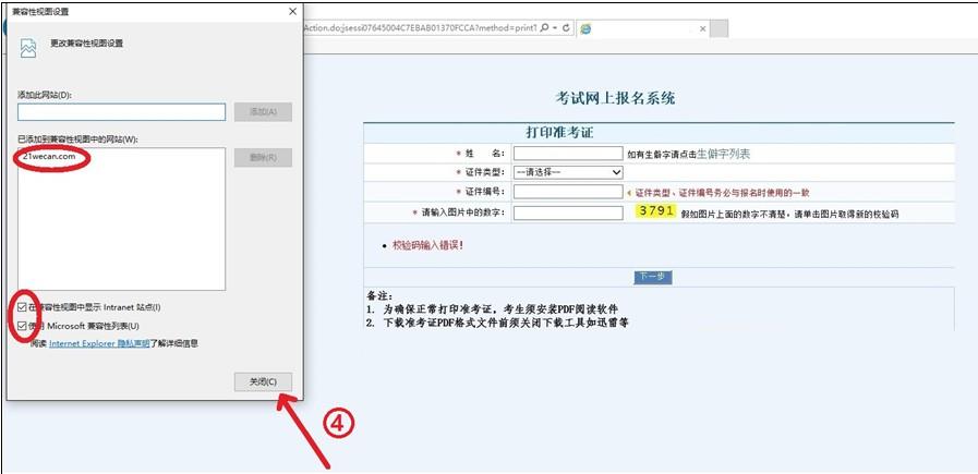2018年卫生资格考试准考证打印浏览器兼容性设置