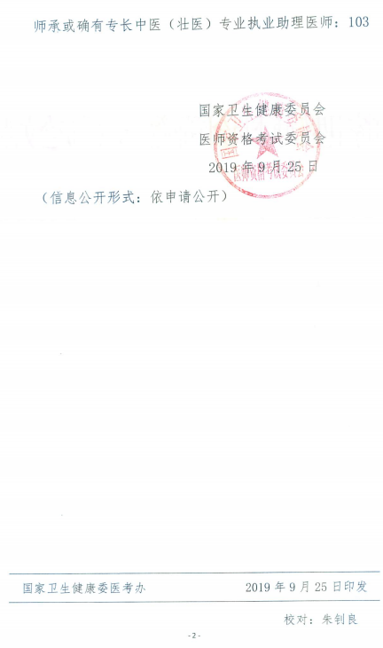 国家卫健委关于2019年中医民族医专业医师资格考试合格分数线通知