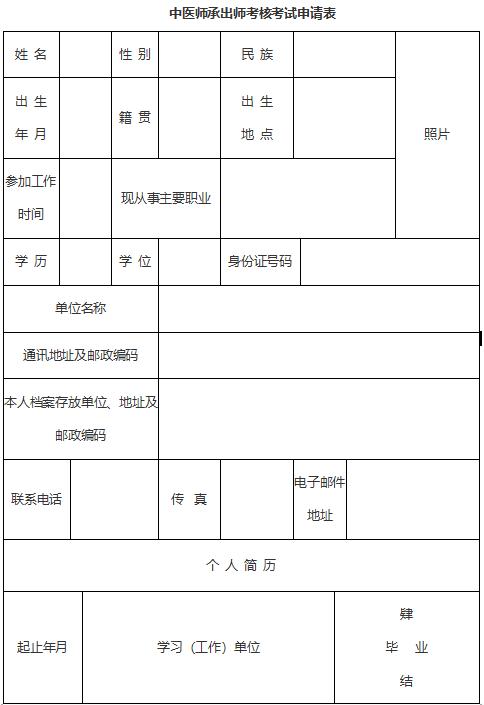 中医师承出师考核考试、中医确有专长考核考试申请表模板