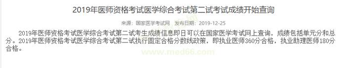 广西2019执业中医医师考试二试成绩查询开始
