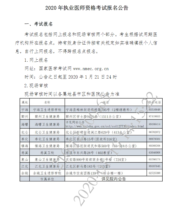 宁波市2020年公卫执业医师考试报名公告