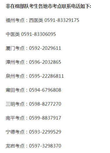 口腔助理执业医师资格考试福州考生各报名点联系方式