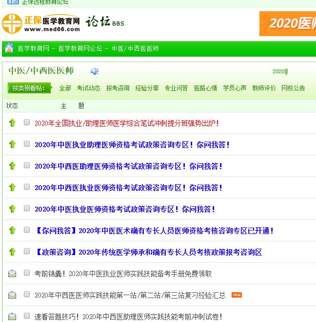 中西医结合执业医师考试论坛