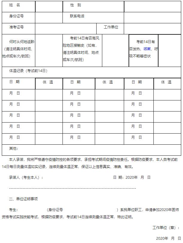 2020年贵州省医师实践技能考试外省返黔考生体温测量登记表(证明)
