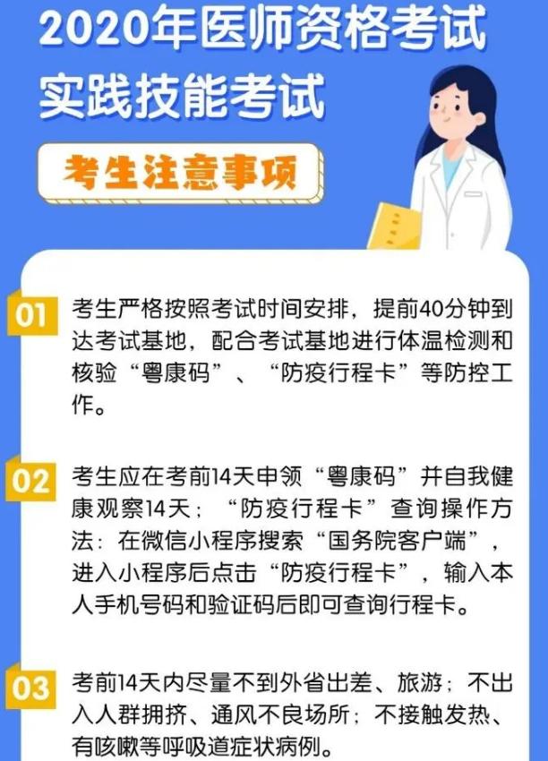 2020年广东省医师实践技能考试准考证开放打印入口(附温馨提示)