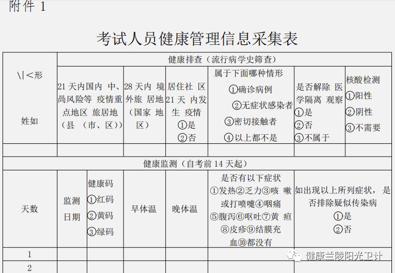 考试人员健康管理信息采集表1