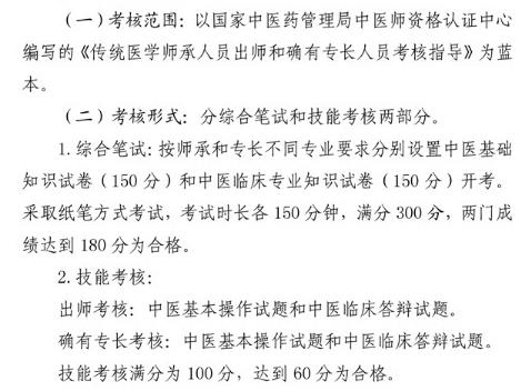 湖南省2020年度传统医学师承出师和确有专长考核范围及考试形式