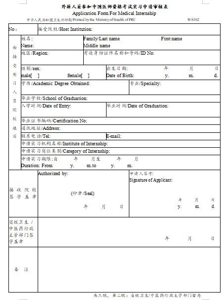 外籍人员参加中国2021年中西医执业医师资格考试实习申请审核表