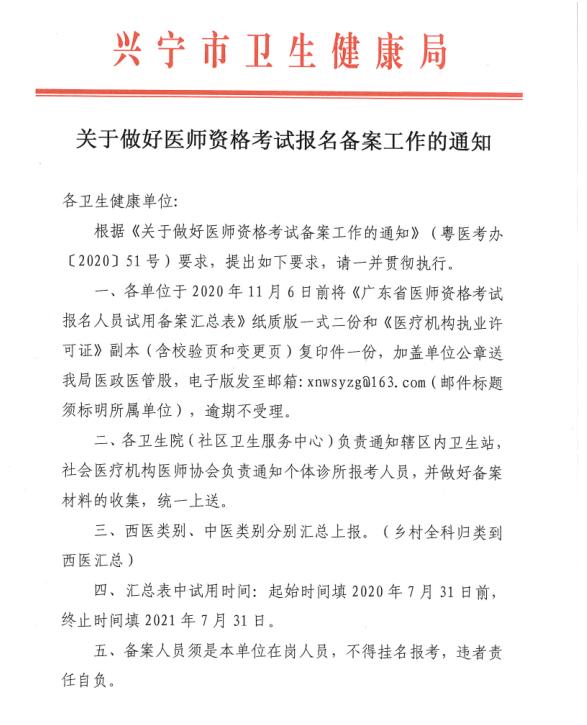 兴宁市医师资格报名备案