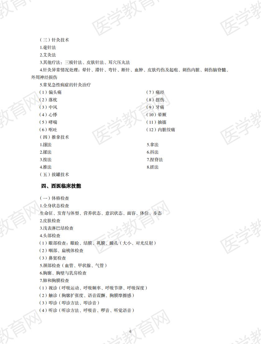 中西医结合执业助理医师资格考试大纲2020版_05