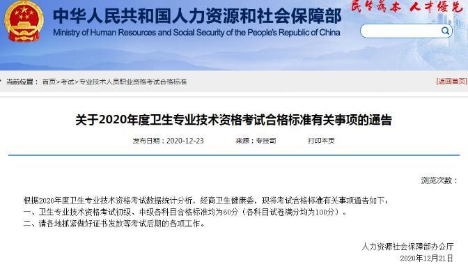 邯郸2020年初级中药师考试分数线