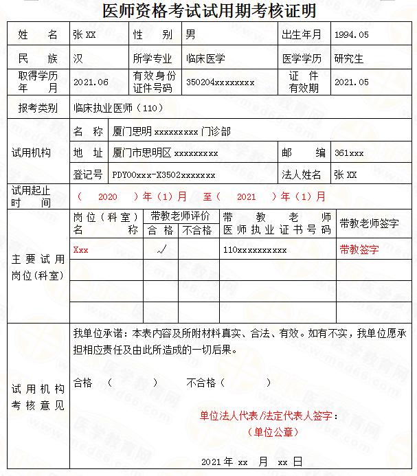 2021年不同学历考生医师资格考试试用期考核证明填写说明(附模板)