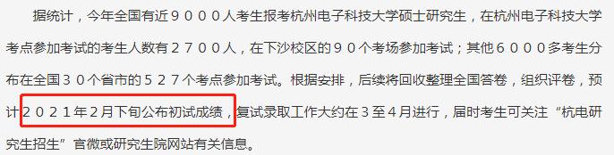 杭州电子科技大学2021初试成绩查询时间