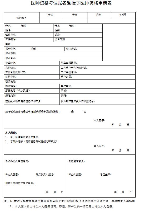 医师资格考试报名暨授予医师资格申请表是审核通过以后打印的吗?