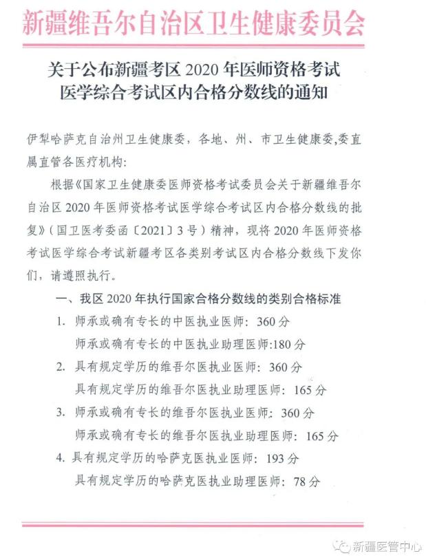 2020年新疆考区口腔助理医师区内分数线的通知