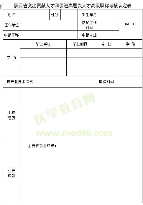 2020年陕西省突出贡献人才和引进高层次人才高级职称考核认定表在哪能下载?