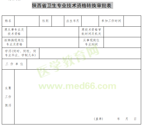 2020年陕西省卫生专业技术资格转换审批表下载入口?
