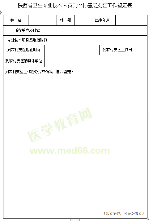 2020年陕西省卫生专业技术人员到农村基层支医工作鉴定表下载入口?