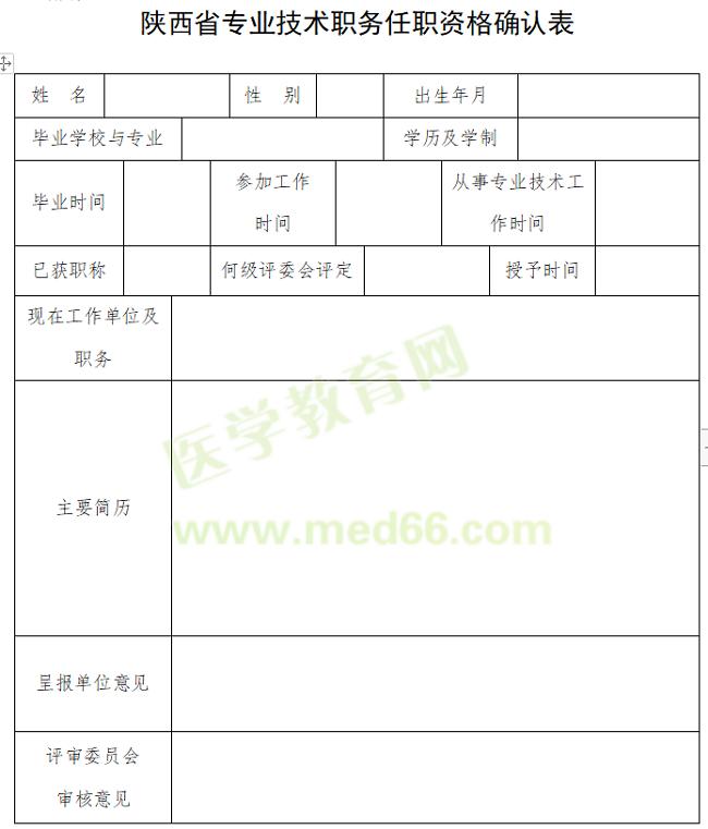 2020年陕西省专业技术职务任职资格确认表在哪能下载?