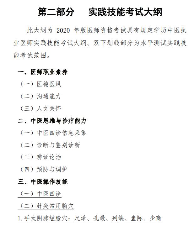 2021年中医学类专业(本科)水平测试实践技能考试大纲免费下载