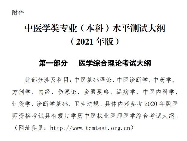 2021年国家中医学专业(本科)水平测试考试大纲及考试科目