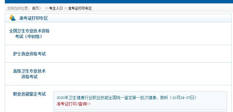 中国卫生人才网2021卫生专业技术资格考试准考证打印入口