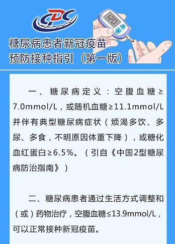 【北京疾控提醒您】糖尿病患者新冠疫苗預防接種指引一