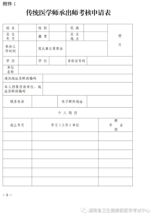 湖南省2021年传统医学师承出师考核申请表下载