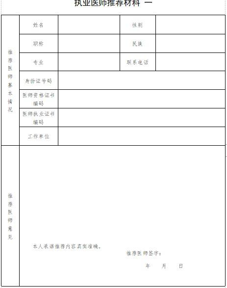 2021年湖南省传统师承出师人员报考两名执业医师推荐表下载