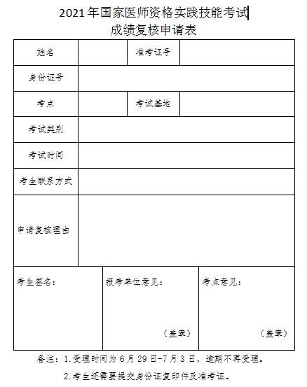 江西考区2021年口腔执业助理医师实践技能成绩复核申请表下载地址