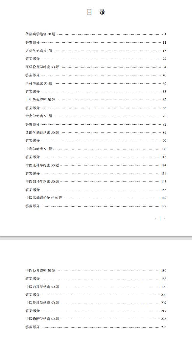 中医执业医师冲刺集训300题目录