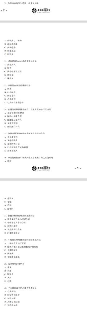 2021年中医执业医师医学综合笔试《内科学》(31-40)
