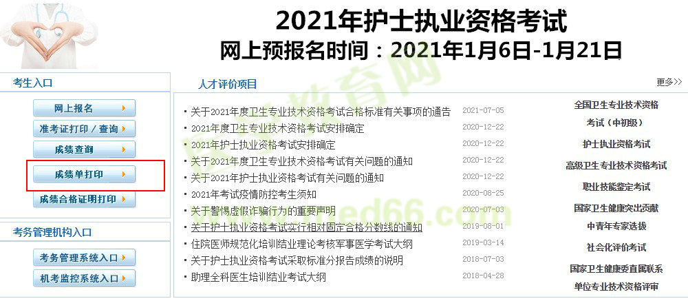 2021年心內科主治醫師考試成績單打印途徑\入口