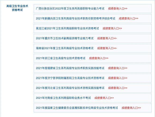 广西2022年卫生系列高级职称专业能力考试成绩查询入口开通!