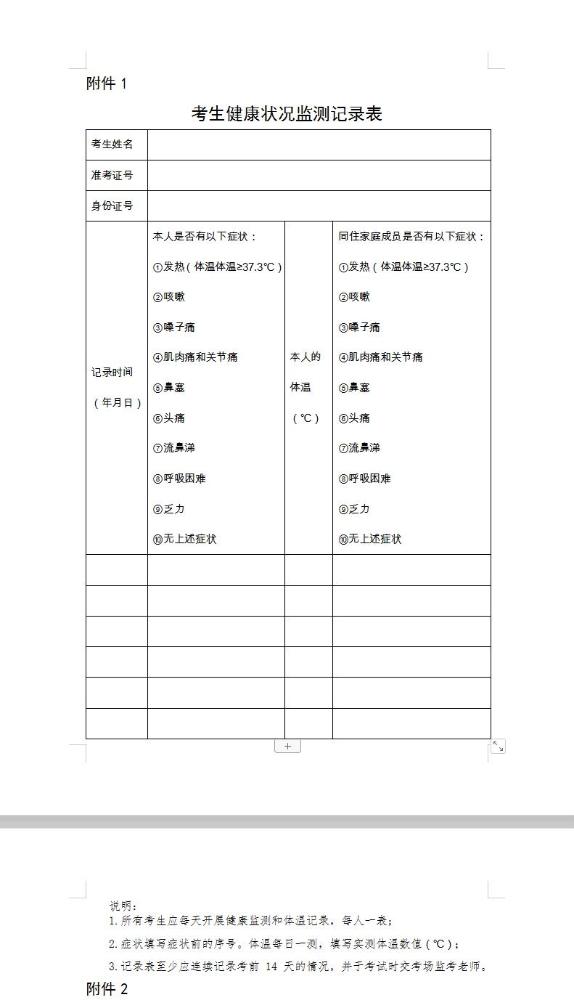 2021年北京市口腔執業醫師綜合考試考生健康狀況監測記錄表