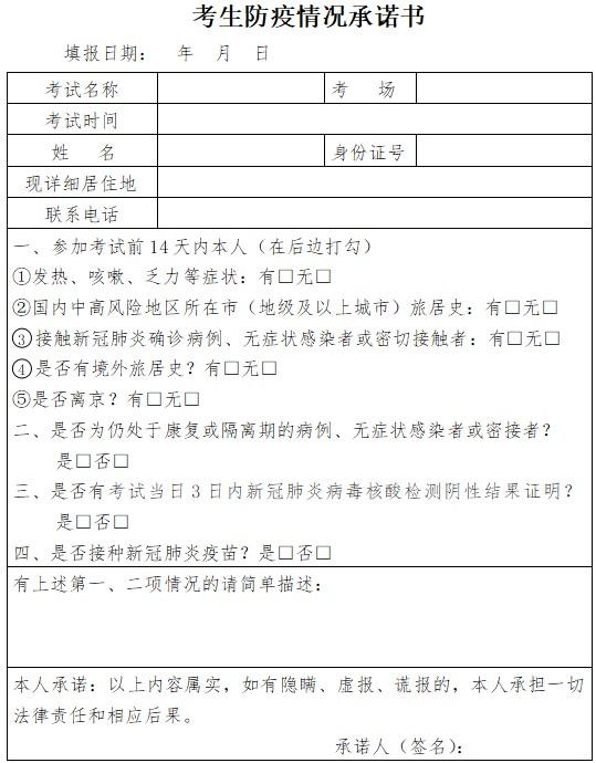 2021年北京醫師考生防疫情況承諾書下載及填寫說明