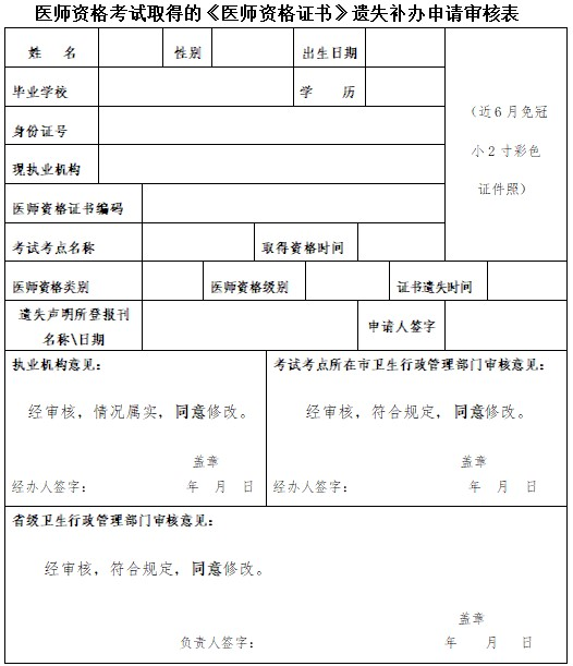 醫師資格證書遺失補辦申請審核表下載及填寫說明(廣西)