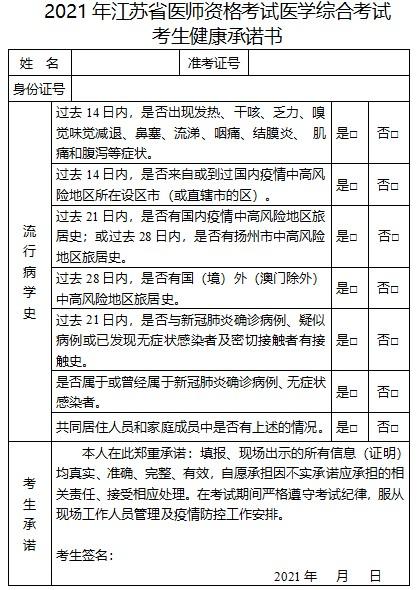 江蘇省2021年醫師資格考試公衛醫師筆試考生健康承諾書哪里看