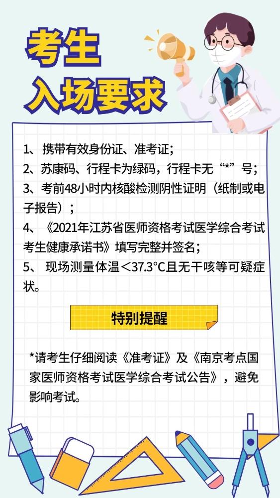 江蘇省南京市2021年公衛執業/助理醫師筆試考試考前注意事項通知