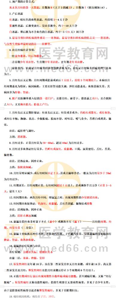 2021年中医执业医师【二试】考前速记《中医妇科学》30条