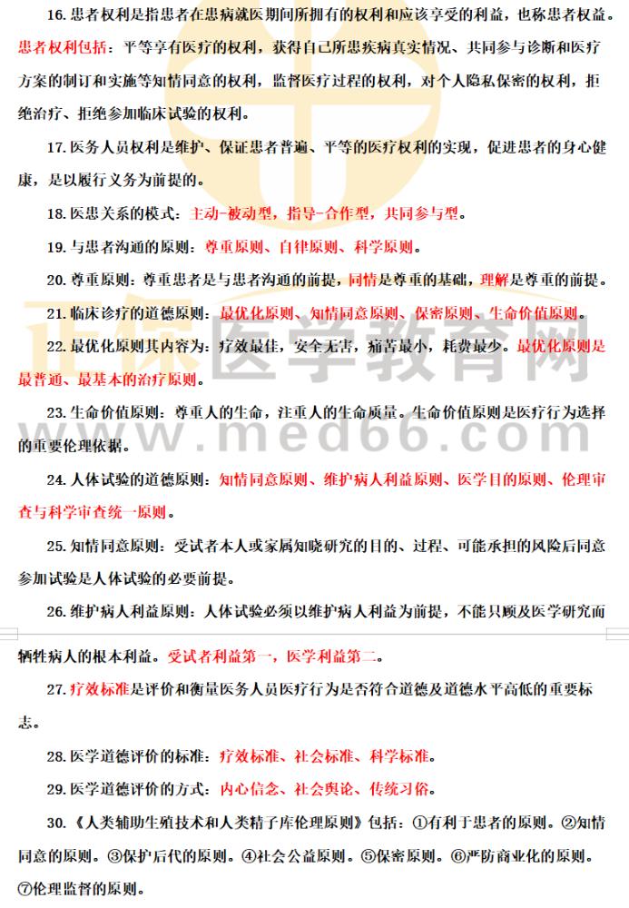 中医执业医师考试一年两试历年高频考点整理《医学伦理学》30条